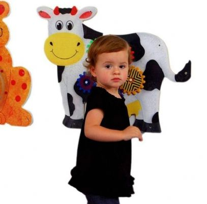Cow Wall Panel Gears Toy,Anatex cow wall panel,sensory wall panel,wall panel, Special Needs Toys, Sensory equipment, Special needs equipment, Sensory room equipment, developmental environment setting, wall activity panels, wall hanging activities, sen learning, sensory education, special educational needs